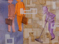 Untitled (with Purple Janitor) by Additional Inventory at Robert Brown Gallery